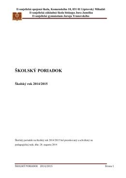 ŠKOLSKÝ PORIADOK - Evanjelická spojená škola | Liptovský Mikuláš