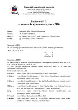 Zápisnica č. 3. zo zasadania Výkonného výboru SBA.