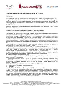 Podmienky pre montáž interiérových skiel (platné od 1.1