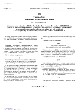 479/2011 Vyhláška Národného bezpečnostného úradu