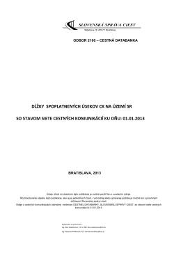 Spoplatnené úseky CK, k 1.1.2013