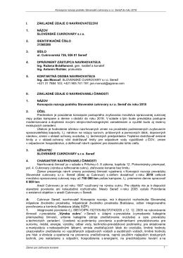 Koncepcia rozvoja podniku SLOVENSKÉ CUKROVARY s.r.o. Sereď