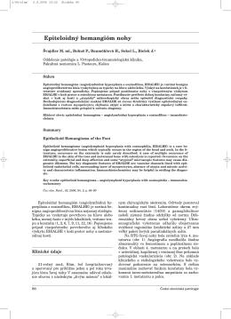 Epiteloidný hemangióm nohy - česko