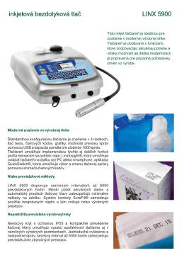 inkjetová bezdotyková tlač LINX 5900 inkjetová
