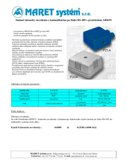 Snímač intezity osvetlenia s komunikáciou po linke RS485 s