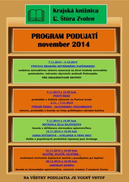 PROGRAM PODUJATÍ november 2014 - krajská knižnica ľudovíta