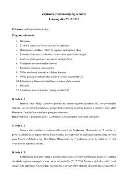 Zápisnica z ustanovujúcej schôdze konanej dňa 27.12.2010