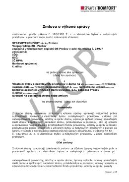 Zmluva o výkone správy - Spravbytkomfort as Prešov