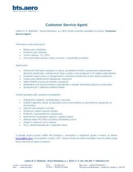 Customer Service Agent - Letisko Bratislava (BTS)