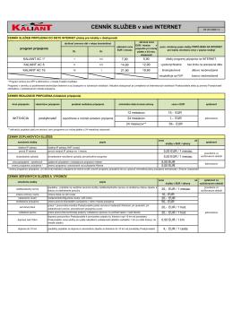 Cenník služieb v sieti internet pre programy KALIANT AC platný od