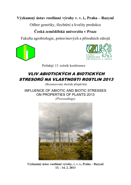 vliv abiotických a biotických stresorů na vlastnosti rostlin
