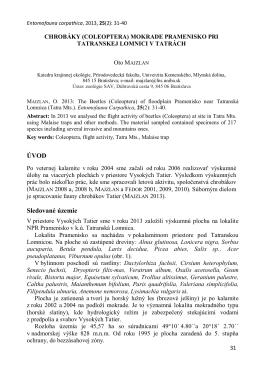 (Coleoptera) mokrade Pramenisko pri Tatranskej Lomnici v Tatrách