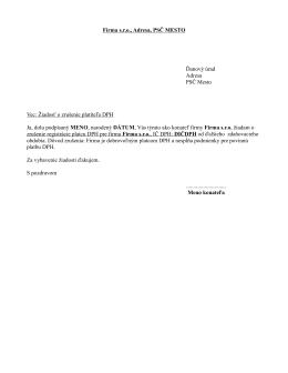 Firma sro, Adresa, PSČ MESTO Ďanový úrad Adresa PSČ Mesto