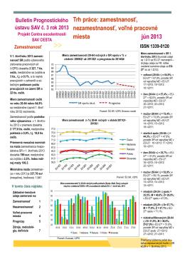 zamestnanosť, nezamestnanosť, voľné pracovné miesta jún 2013