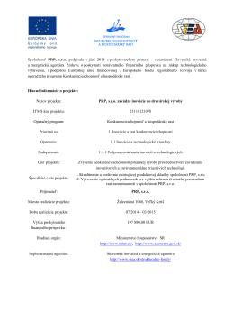 Spoločnosť PRP, s.r.o. podpísala v júni 2014 s poskytovateľom