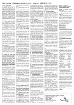 Všeobecné pravidlá a podmienky členstva v