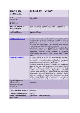 Názov a kód kvalifikácie: Kaderník_0004_UK_ISDV