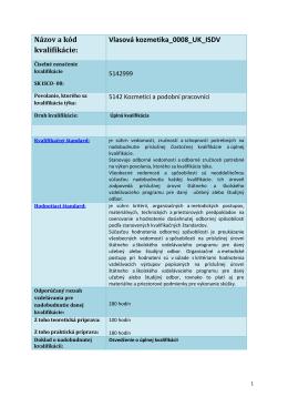 Názov a kód kvalifikácie: Vlasová kozmetika_0008_UK_ISDV