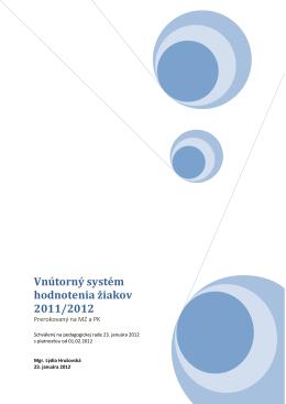 Vnútorný systém hodnotenia žiakov 2011/2012