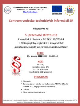 Pozvánka na pracovné stretnutie - NITT SK