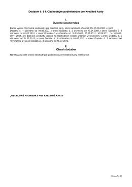 Dodatok č. 9 k Obchodným podmienkam pre Kreditné karty I
