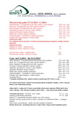 Horský hotel Remata-cenník 2014