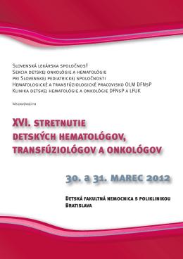 XVI. stretnutie detských hematológov