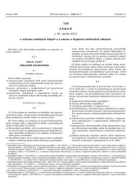 122 ZÁKON z 30. apríla 2013 - Úrad na ochranu osobných údajov