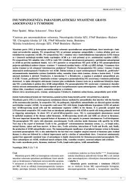 imunopatogenéza paraneoplastickej myasténie gravis