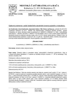 MESTSKÁ ČASŤ BRATISLAVA-RAČA Kubačova 21, 831 06