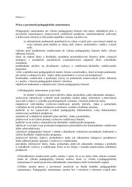 Práva a povinnosti pedagogického zamestnanca Pedagogický