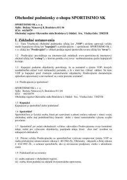 Obchodné podmienky e-shopu SPORTISIMO SK