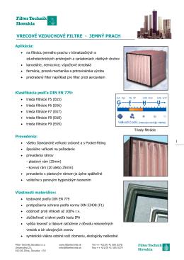 vrecové vzduchové filtre uchové filtre - jemný prach