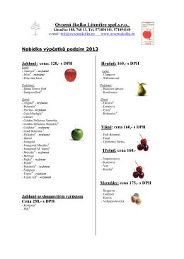 Nabídka výpěstků - PDF - Ovocná školka Litenčice sro