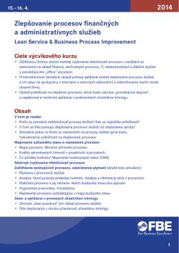 Zlepšovanie procesov finančných a administratívnych služieb