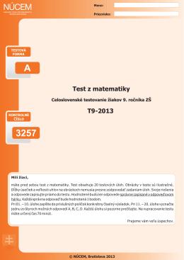Certifikačný test z matematiky 2013