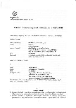 Dohoda o vyplňovacom práve k bianko zmenke č. 4013/12/33BZ