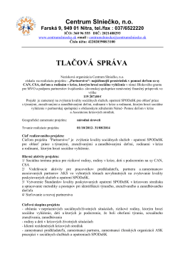 TLAČOVÁ SPRÁVA - Centrum slniečko