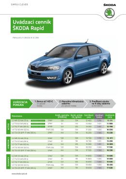 Uvádzací cenník Škoda Rapid