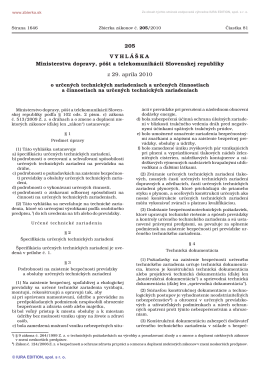 205/2010 Vyhláška Ministerstva dopravy, pôšt a telekomunikácií