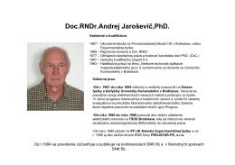 doc. RNDr. Andrej Jaroševič, PhD