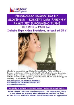 koncert lary fabian v rámci jej európskeho turné