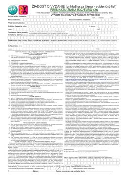 žiadosť o vydanie preukazu žiaka isic/euro<26 alebo známky isic