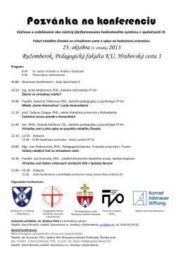 Pozvánka na konferenciu - Fórum pre verejné otázky