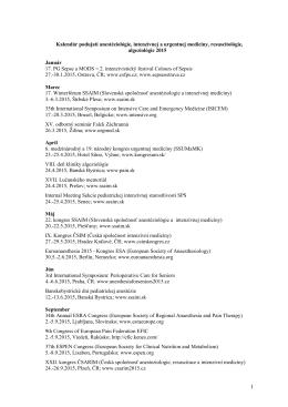Kalendár podujatí urgentnej medicíny 2010