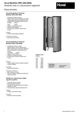 Hoval MultiVal CRR (300-2000) Ohrievač vody s 2 vykurovacími