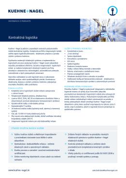 Kontraktná logistika - Kuehne + Nagel Slovensko