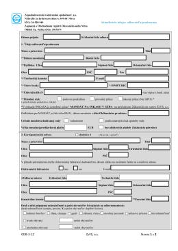 Aktualizácia údajov odberateľa FO
