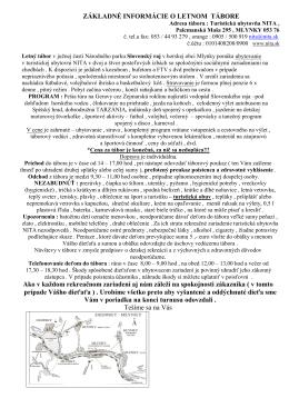 Letný tábor RZ NITA , Palcmanská Maša 295 , 053 76 , c