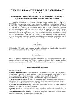 VZN obce č. 6/2012 o podmienkach vypúšťania